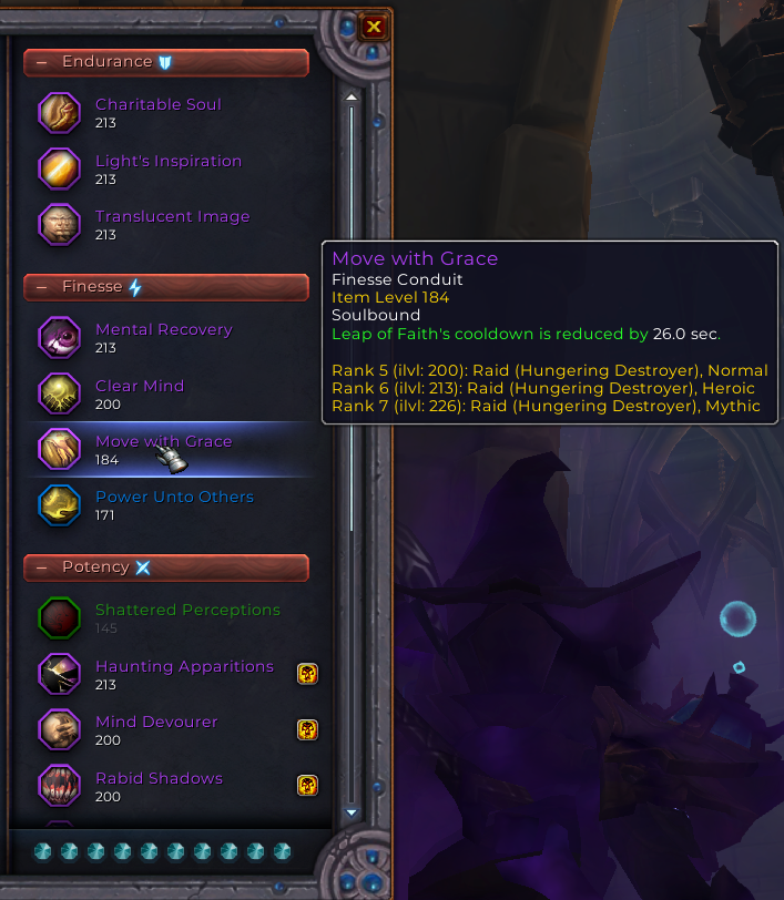 Picture of Soulbind UI with conduits listed